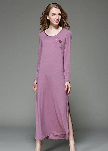 DMMSS Accappatoio donna cotone maniche lunghe pizzo camicia da notte pigiami , l