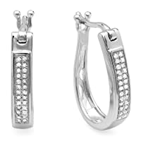 0.20 Carat (ctw) 18k White Gold Plated Sterling Silver Round Diamond Ladies Hoop Earrings from DazzlingRock