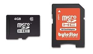 ByteStor Carte mémoire Micro SDHC avec adaptateur Classe 10 4 Go (Import Royaume Uni)