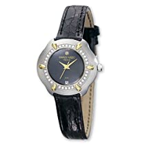 Ladies Charles Hubert 0.35ct Diamond/18k Crocodile Black Dial Watch