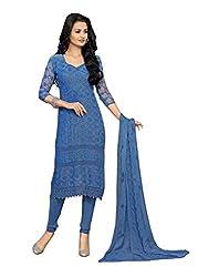 Isha Enterprise Women's Chiffon Dress Material(KFD210-1594_Blue)