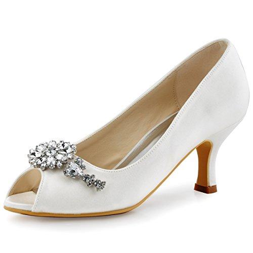 ElegantPark HP1541 Women Peep Toe Pumps Leaf Rhinestones Comfort Heel Satin Wedding Bridal Dress Shoes Ivory US 8