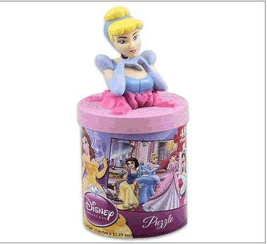 Disney Princess Puzzle with Cinderella Figure Container - 1