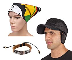 Sushito Fashion Multi Use Cap With Ear Protectector With Stylish Headwrap & Wrist Band