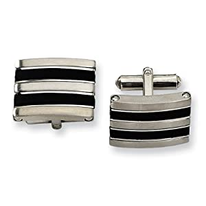 Stainless Steel Black Rubber Cuff Links - JewelryWeb