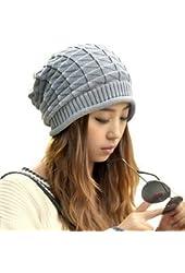 Eforlife Women Girl Triangle Slouchy Knit Beret Beanie Hat Cap Light Gray
