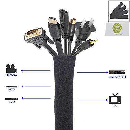 kiwi-sweet-50-cm-organizador-de-cables-funda-para-cable-neopreno-cremallera-flexible-de-calidadnegro