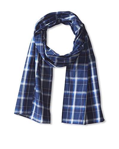 J. McLaughlin Men's Cotton Plaid Scarf, Dark Blue/Blue