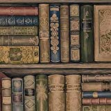 Wallpaper Designer Library Bookshelves Brown Green Red Gold & Black Blue