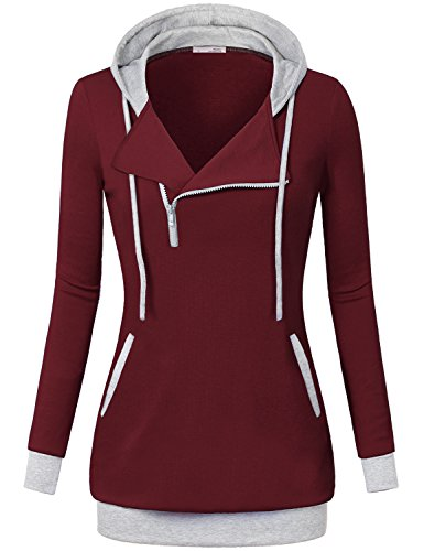 Women Stylish Hoodie,Messic Women's Boat Neck Slim Fit 1/4 Oblique Zipper Hoodie Sweatshirt,Wine,Large (Side Zipper compare prices)