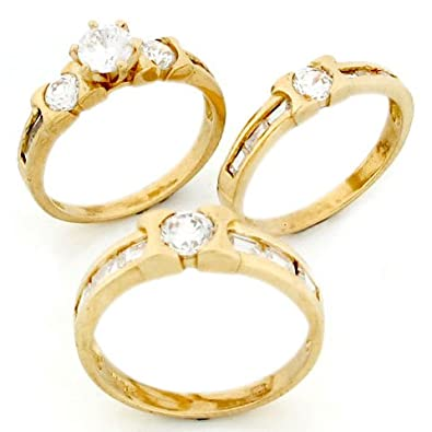9ct Gold Mens & Ladies Matching Wedding CZ Trio 3 Rings