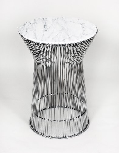 Control Brand FB919TMWHT Mid Century Side table with White Carrera style Marble Top