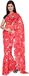 S R Couture Women's Georgette Saree with Blouse Piece (Red)