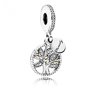 Pandora Bead Pendant Silver and Gold 791728CZ Female Family Tree zircons