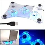 EXpress Net USB Stylish 3 Fan Light Notebook Cooling Pad For Laptop Cooler Transparent USB Led