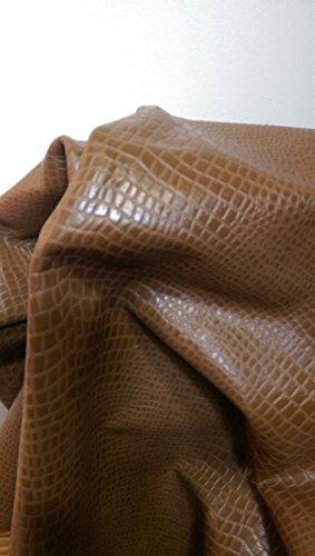 nat-leathers-brown-croco-embossed-10-x-20-upholstery-craft-cow-cowhide-genuine-leather-hide-skin