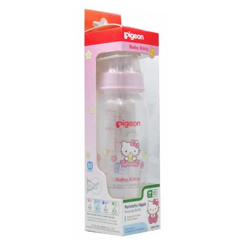 Pigeon Baby Feeding PP Bottle with Peristaltic Nipple 4oz/8oz Baby Kitty Sanrio BPA Free (240 ml / 8 oz)