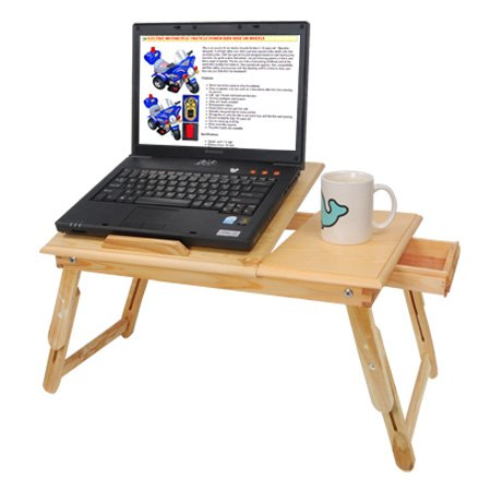 Heavy Duty High Quality Portable Tilted Wood Laptop Desk Table with Drawer