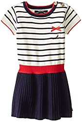 Nautica Little Girls' Stripe Sweater Dress with Solid Drop Needle Skirt, Cream, 2T