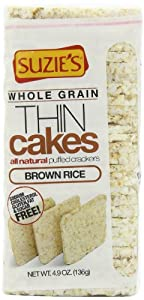 Suzie's Whole Grain Thin Cakes, Puffed Brown Rice Crackers, 4.9-Ounce Bags (136g) (Pack of 12)