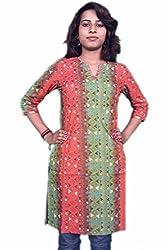 Miraaya Women's Cotton Kurti (M2537A_88943_Orange Green_Medium)