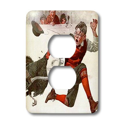 Lsp_195086_6 Florene - Holiday - Print Of Thanksgiving Turkey Painting Norman Rockwell - Light Switch Covers - 2 Plug Outlet Cover