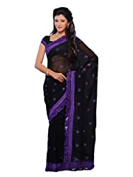 Diva Fashion-Surat Gorgette With Embroidery On Its Border Black Saree 280E
