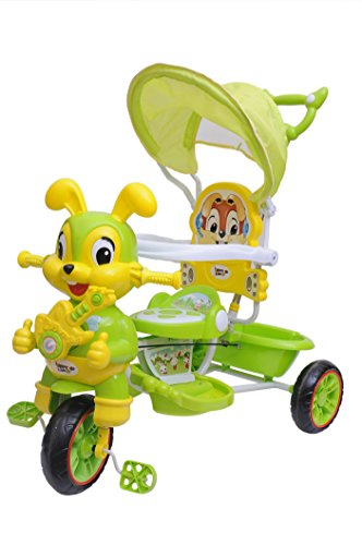 Happy Kids Tricycle with Guiding Handle and Canopy (Green)