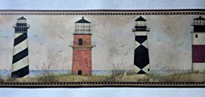 Wallpaper Border Designer Country Lighthouses on Coast with Maroon Trim, Home Improvement Tool by The Wallpaper and Border Store