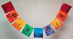 Dia de los Muertos (Day of the Dead) Prayer Flags With sugar skulls and traditional Mexican rhymes.