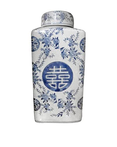 Large Lidded Happiness Tea Jar with Lid, Blue/White