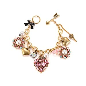 Betsey Johnson Iconic Cupids Arrow Heart Charm Bracelet