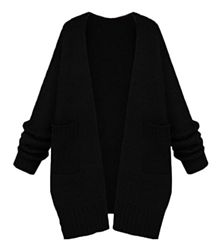 NUTEXROL Women's Open Front Long Sleeve Knit Think Cardigan Chunky Sweater Black Medium