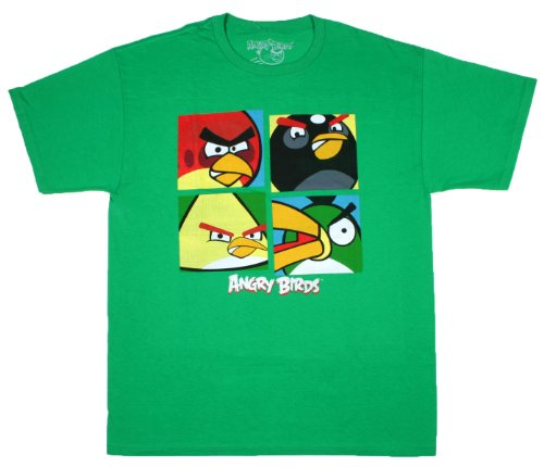 Angry Birds Comic Book Psych Out Mens Shirts (, Green)