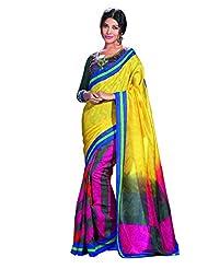 Infigo Women Multicolor Bhagalpuri Silk Printed Saree - B00UFGBTE0