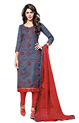 Sitaram womans semistitched cotton embroidery straight cut dress material with dupatta.