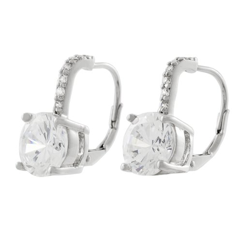 Tressa Sterling Silver CZ Lever Back Earrings with CZ Stone