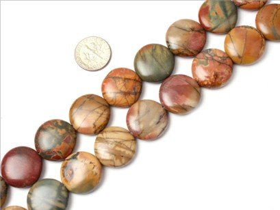 20mm coin gemstone picasso Jasper beads strand 15