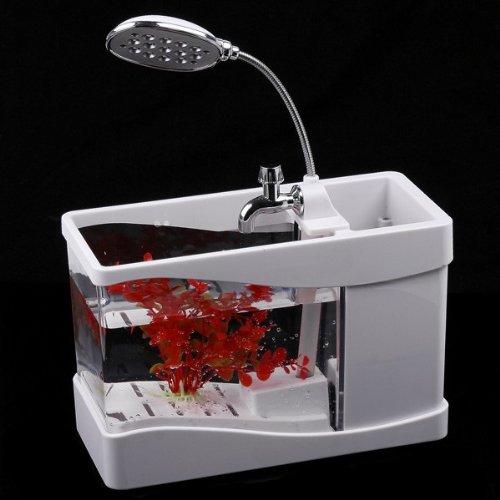 Mini Fish Tank Usb Desktop Lamp Light Colorful Led Aquarium - White