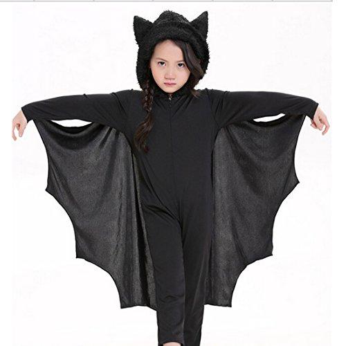 YOKIRIN Halloween Bambino Bat Vestito Pagliaccetto Pipistrello Costume One-piece (Vestito + Guanti) - S (Altezza 105-115CM)