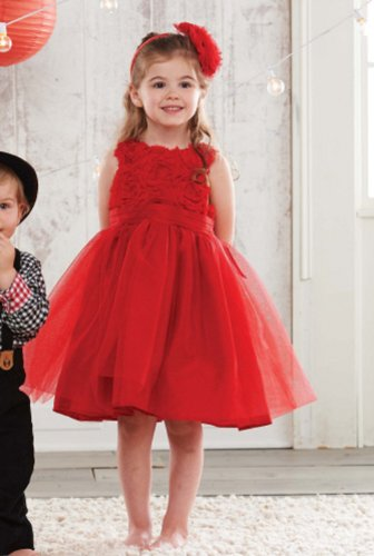 Mud Pie Red Rosette Party Dress 3T front-576854