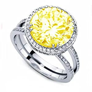 1 50ct canary yellow accent engagement ring