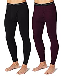 Duofold KMW2 Men\'s Mid Weight Wicking Thermal Pant 1 Black + 1 Bordeaux Red XL