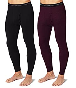 Duofold KMW2 Men's Mid Weight Wicking Thermal Pant 1 Black + 1 Bordeaux Red XL