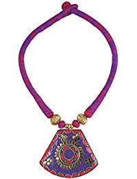 Arittra Royal Multicolor Golden Big Matching Pendant For Women And Girls Brass Pendant Set With Matching Earrings...
