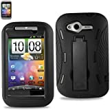 Reiko SLCPC06-HTCG13BK Premium Durable Hybrid Combo Case with Kickstand for HTC Wildfire - 1 Pack - Retail Packaging - Black