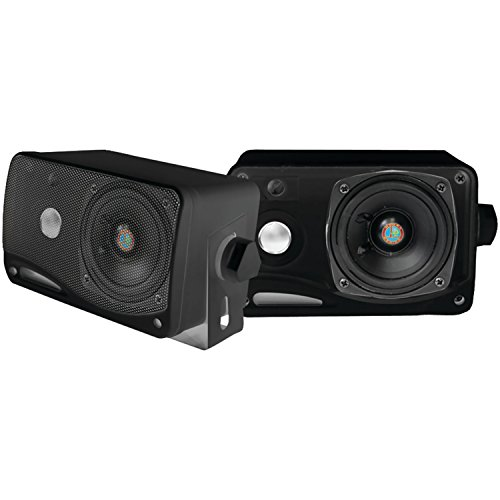 Pyle Plmr24B 3.5-Inch 200 Watt 3-Way Weather Proof Mini Box Speaker System (Black)