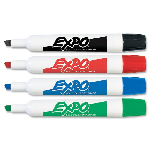 Expo Original Chisel Tip Dry Erase Markers, 4 Colored Markers (83074)