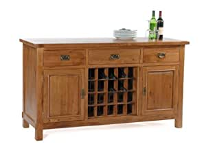 ohio large sideboard with wine rack solid oak wood rustic. Black Bedroom Furniture Sets. Home Design Ideas
