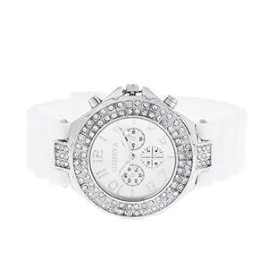 Geneva Silicone Crystal Quartz Ladies Women Jelly Wrist Watch Versicolor White